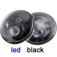 "2x 7"" LED Headlights Black no Halo H4 For Toyota Landcruiser HZJ75 75 78 79 seri"