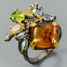 Unique SET Natural Amber 925 Sterling Silver Ring Size 8.5/R103175