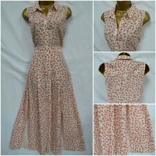 EX NEW LOOK SHIRT DRESS MIDI PINK PEACH IVORY FLORAL DITSY COLLARED SIZE 6 - 16