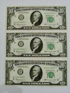 (3) Consecutive - 1963 - $10 Federal Reserve Star Notes - Crisp High Grade