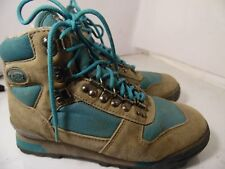 VASQUE Tan Suede Teal Canvas Hiking Mountaineer Boots Womens Size 8 Style 7591