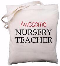 Awesome Nursery Teacher - Natural Cotton Shoulder Bag - School Gift