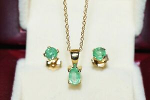 """SALE! STUNNING NATURAL EMERALD 9CT GOLD PENDANT & STUD EARRINGS & 18"""" 9CT CHAIN"""