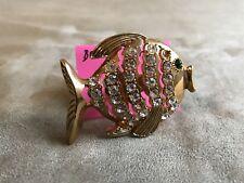 BETSEY JOHNSON RARE LARGE GOLD FISH STUDDED WITH WHITE RHINESTONES RING