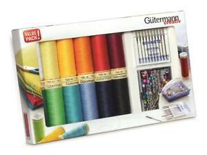 Gutermann Sew-all Thread Set 12x100m + Schmetz Needles +Prym pearl head pins