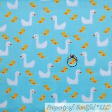 BonEful FABRIC Cotton Quilt Blue White Yellow Baby Duck Chick Small Water SCRAP