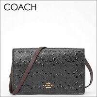 NWT Coach Signature Debossed Patent Leather Foldover Crossbody/Clutch15620 Black