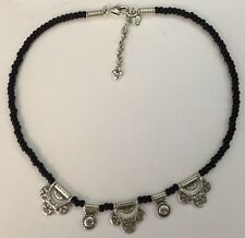 Brighton Silver Black Beads Necklace Excellent With Tin