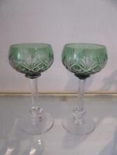 2 Roemers cristal overlay Vert saint louis Massenet (roemer crystal rhine glass)