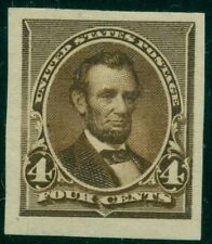 US #222Pa 4¢ dark brown, og, LH, Imperf Proof on Stamp Paper, XF