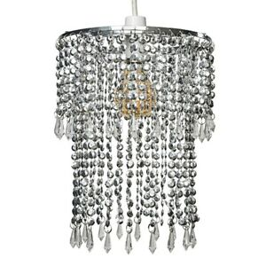 Modern Chrome Ceiling Pendant Light Lamp Shade Clear Acrylic Crystal Droplet