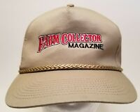 Vintage Farm Collector Magazine Adjustable Leather Strapback Beige Tan Hat Cap