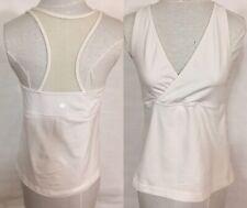 Lululemon Woman White Tank Mesh Back Top Shirt Size 6 Built In Bra