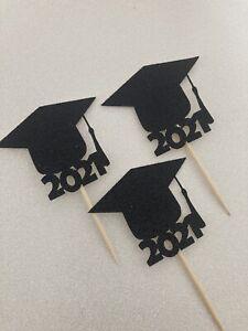 12 Graduation glitter cupcake cake toppers grad mortar board cap university 2021