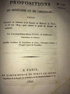 PROPOSITIONS DE MÉDECINE ET DE CHIRURGIE, 1827.