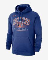 Nike NBA New York Knicks Hoodie New Mens Rush Blue Sportswear Graphic BV0945-495