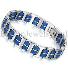 "8.9"" Mens Stainless Steel Blue Rubber I Chain Motorcycle Biker Bracelet*13MM"