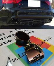 AUDI A5 COUPE SPORTBACK COPPIA TERMINALI DI SCARICO OVALI ACCIAIO LOOK RS5 NERI