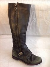 Office Girl Grey Knee High Leather Boots Size 36