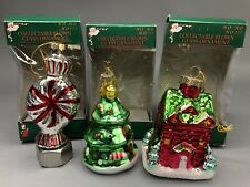 Blown Glass Christmas Ornaments Peppermint Christmas Tree Village House Lot of 3