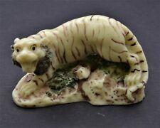 Vintage Tiger On Rocks Netsuke Figurine. Hand Crafted Of Resin.