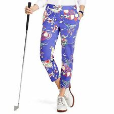 Polo Golf Ralph Lauren Pants SIZE 8 Purple Floral Sateen Ankle Capri MSRP $165