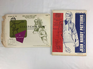 Mens Vintage Sewing Patterns Jean Hardy Pattern and Stretch & Sew Lot of 2