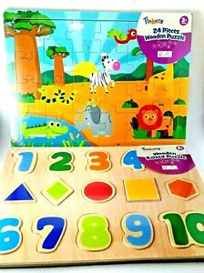 Tinkers WOODEN Puzzle x 2 Suit 2+ years Africa Animals & Numbers 22.5 cm x 30 cm