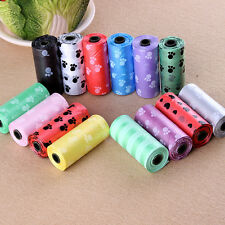 New 1Roll/15PCS Pet Dog Waste Poop Bag Printing Degradable Clean-up Dispenser WC