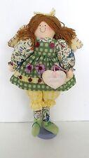 Garden Angel Wooden Stand Up Cloth Angel Doll Figurine On Wood Stand Folk Art