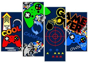 Boys Fun Computer Controller Space Invader Game 4 Panel Canvas Art Print Picture