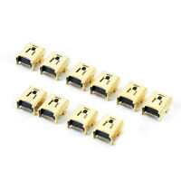 10Pcs Gold Plated Mini Usb 8Pin Female Jack Pcb Smt Socket Connector For Diy,FR