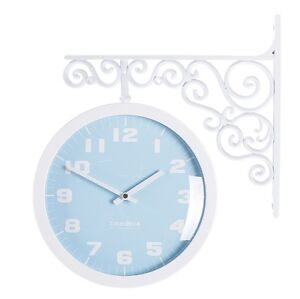 Antique Art Design Double Sided Wall Clock Station Clock Home Decor - Pastel(BL)