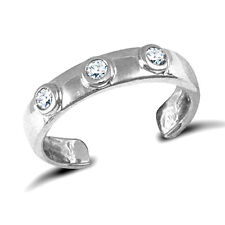 9CT WHITE GOLD CZ TOE RING ADJUSTABLE Erin Rose Jewellery Co
