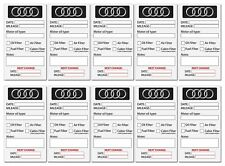 """20Stück Audi Oil Service Aufkleber """" Inspektion oelwechsel frostschutz """"90x50mm"""