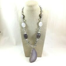 """Grey Agate Slice Pendant Glass Bead Necklace 22"""" Long"""