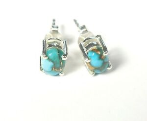 BLUE COPPER TURQUOISE GEMSTONE STAMPED 925 STERLING SILVER STUD EARRINGS 0.8 g
