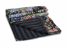 Twin Indian Kantha Blanket Bedding Kantha Quilt Black Paisley Bedspread Throw