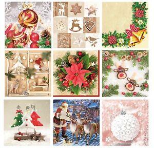 Christmas Paper Napkins for Decoupage Craft Serviettes LUXURY 33x33cm 3PLY 20pcs