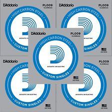 5 x D'Addario PL009 Single Steel Strings for Electric Acoustic Guitar Gauge 8