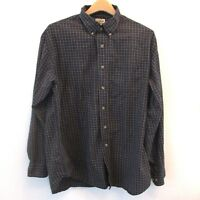 LL Bean Mens Oxford Shirt Blue Tan Plaid Checks Button Down Collared Size Large