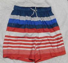 CROFT & BARROW Mens Red White Blue Strip Soft Touch Tie Front Swim Trunks size M