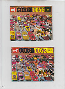 Corgi Katalog Prospekt e 1972 + 1971/72 Top Zustand Verkaufsliste Abbildungen