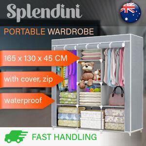 Portable Cabinet Fabric Wardrobe Clothes Storage Closet Organizer With Shelves