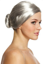 Old Lady Wig With Bun Grey Granny Fancy Dress Accessory Ladies