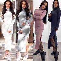 Women Winter Long Sleeve Knitted Sweater Jumper Pullover Long Maxi Dress Bodycon