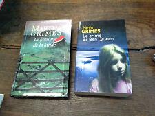 Lot de 2 livres de Martha Grimes Le fantôme de la lande + Le crime de Ben Queen