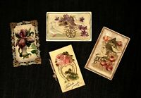 1900-1910's Embossed Celluloid Postcard & Greeting Card - Lot of 4 Original Old!