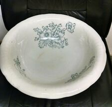 """Antique Vintage Pottery Ironstone Basin, Green Floral, 16"""" Diameter!  Beautiful!"""