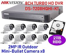 Hikvision 8CH CCTV System Set with 8CH DVR x1 +2MP Bullet Camera x8 + 2TB HDD x1